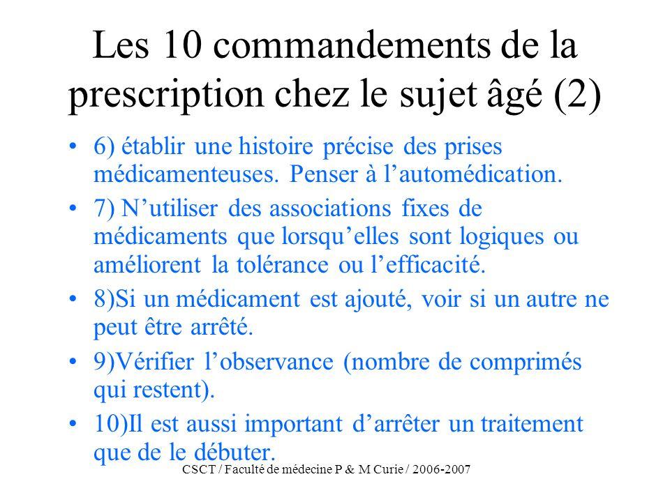 CSCT / Faculté de médecine P & M Curie / 2006-2007 Les 10 commandements de la prescription chez le sujet âgé (2) 6) établir une histoire précise des p