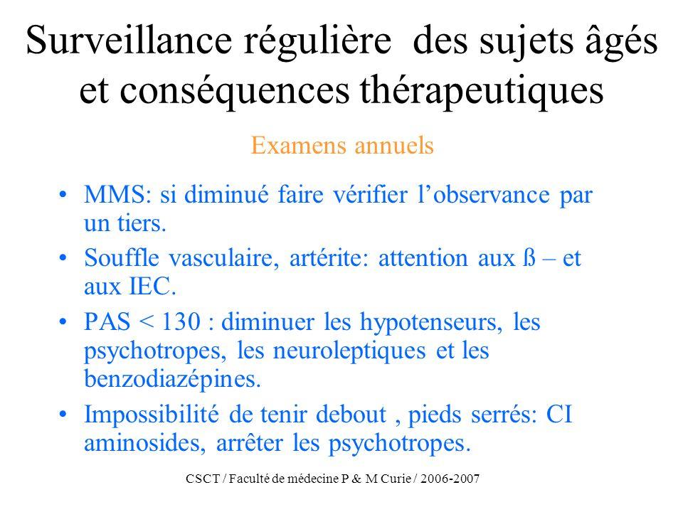 CSCT / Faculté de médecine P & M Curie / 2006-2007 Surveillance régulière des sujets âgés et conséquences thérapeutiques MMS: si diminué faire vérifie