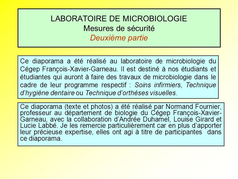 LABORATOIRE DE MICROBIOLOGIE Mesures de sécurité Deuxième partie Ce diaporama (texte et photos) a été réalisé par Normand Fournier, professeur au dépa