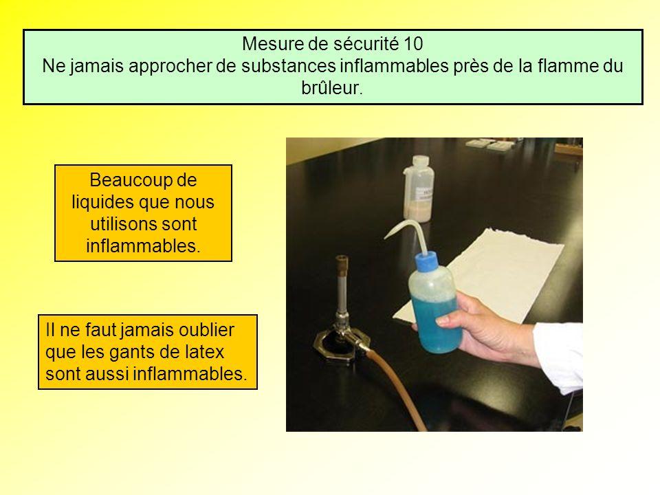 Mesure de sécurité 10 Ne jamais approcher de substances inflammables près de la flamme du brûleur. Beaucoup de liquides que nous utilisons sont inflam