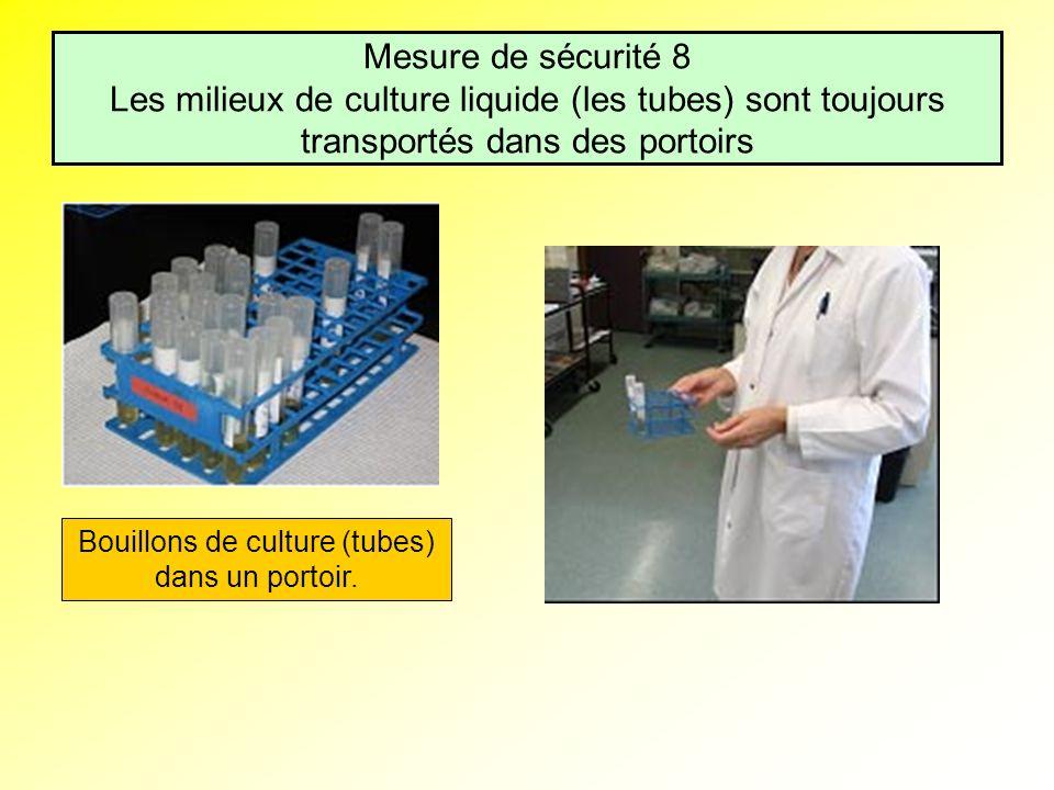 Mesure de sécurité 8 Les milieux de culture liquide (les tubes) sont toujours transportés dans des portoirs Bouillons de culture (tubes) dans un porto
