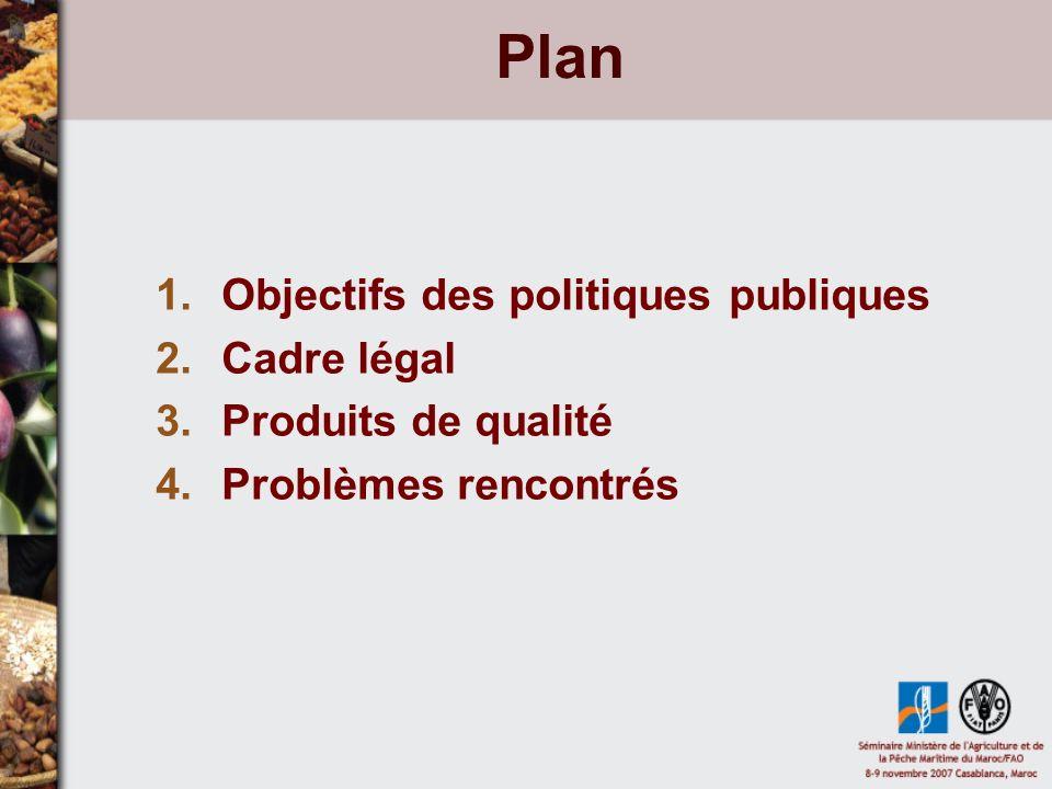 Plan 1.Objectifs des politiques publiques 2.Cadre légal 3.Produits de qualité 4.Problèmes rencontrés