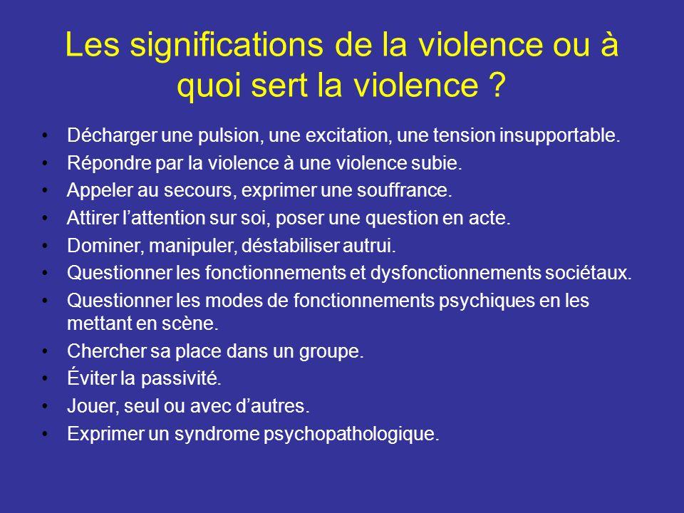 Les significations de la violence ou à quoi sert la violence ? Décharger une pulsion, une excitation, une tension insupportable. Répondre par la viole