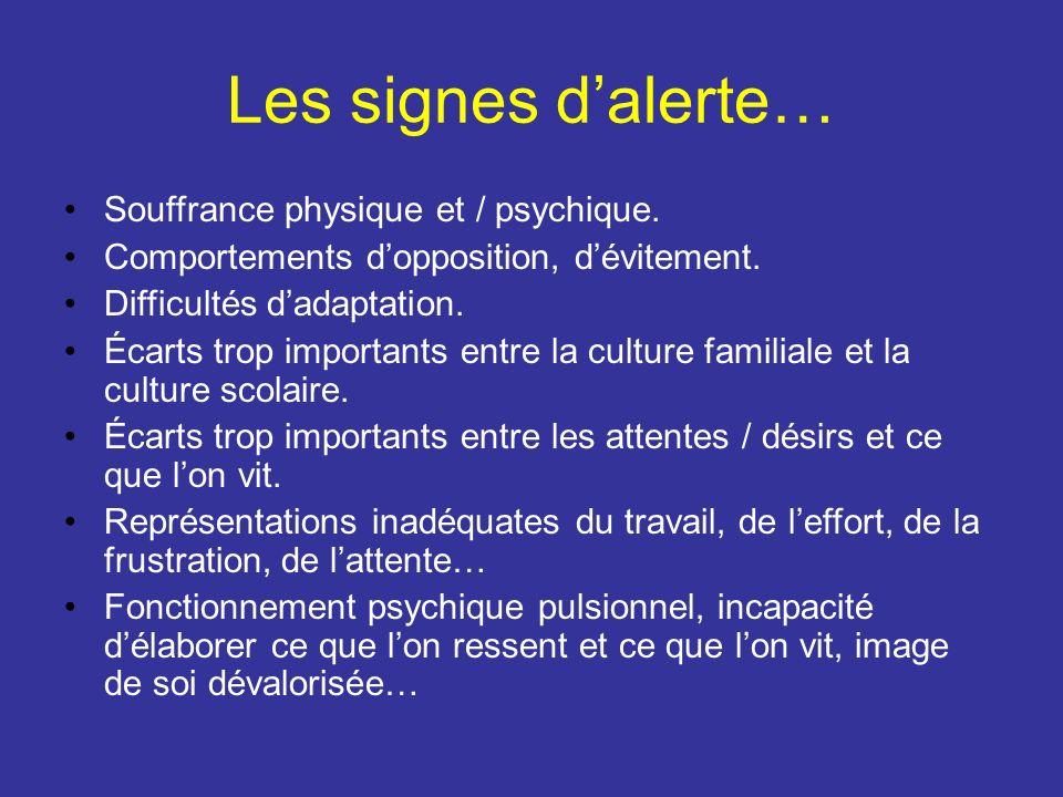Les signes dalerte… Souffrance physique et / psychique. Comportements dopposition, dévitement. Difficultés dadaptation. Écarts trop importants entre l