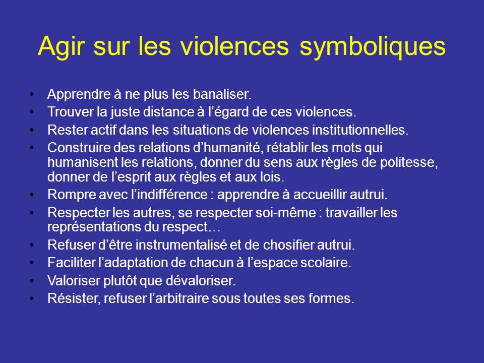 Agir sur les violences symboliques Apprendre à ne plus les banaliser. Trouver la juste distance à légard de ces violences. Rester actif dans les situa