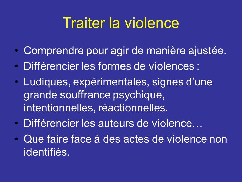 Traiter la violence Comprendre pour agir de manière ajustée. Différencier les formes de violences : Ludiques, expérimentales, signes dune grande souff