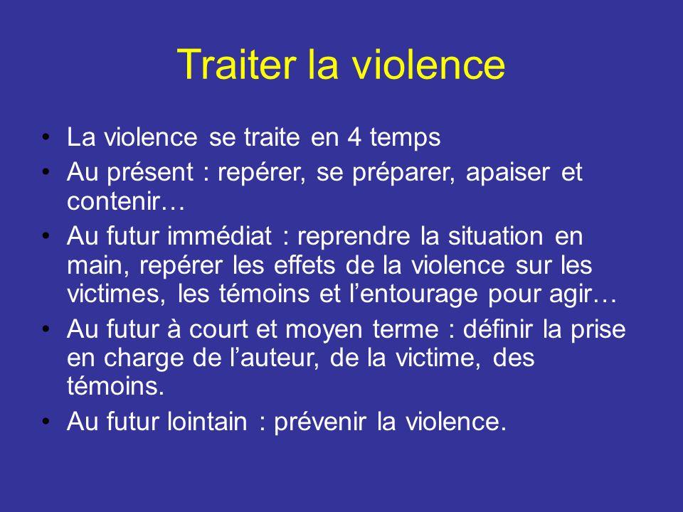 Traiter la violence La violence se traite en 4 temps Au présent : repérer, se préparer, apaiser et contenir… Au futur immédiat : reprendre la situatio