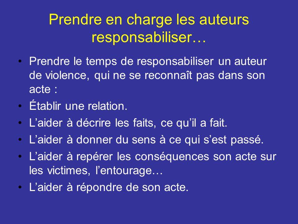Prendre en charge les auteurs responsabiliser… Prendre le temps de responsabiliser un auteur de violence, qui ne se reconnaît pas dans son acte : Étab