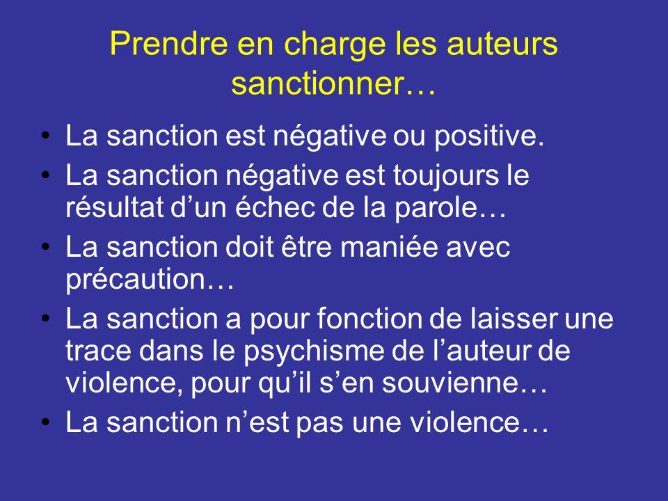 Prendre en charge les auteurs sanctionner… La sanction est négative ou positive. La sanction négative est toujours le résultat dun échec de la parole…