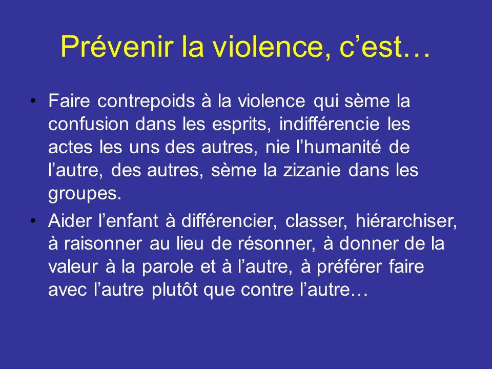 Prévenir la violence, cest… Faire contrepoids à la violence qui sème la confusion dans les esprits, indifférencie les actes les uns des autres, nie lh
