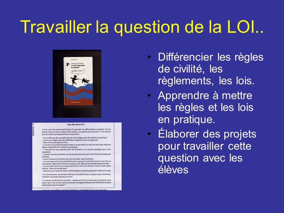 Travailler la question de la LOI.. Différencier les règles de civilité, les règlements, les lois. Apprendre à mettre les règles et les lois en pratiqu