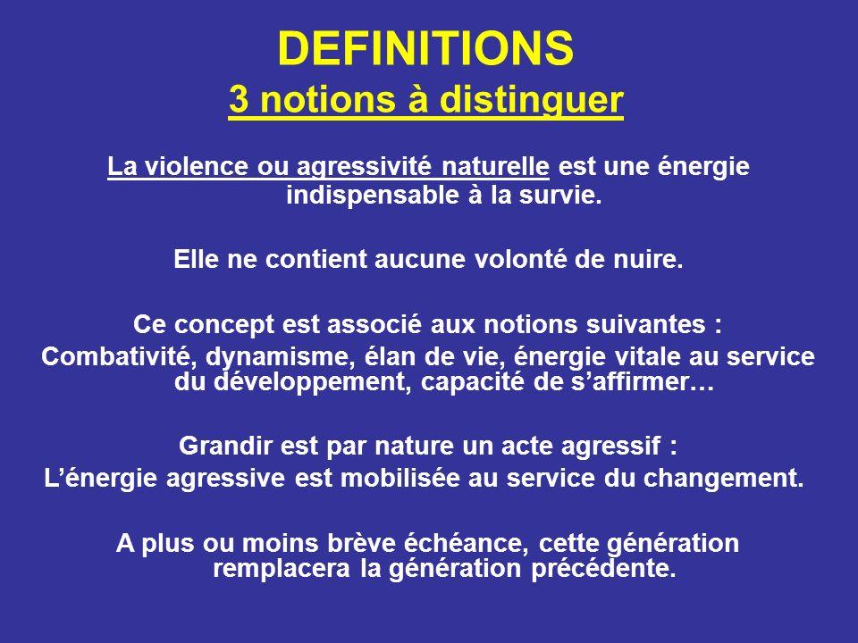 DEFINITIONS 3 notions à distinguer La violence ou agressivité naturelle est une énergie indispensable à la survie. Elle ne contient aucune volonté de