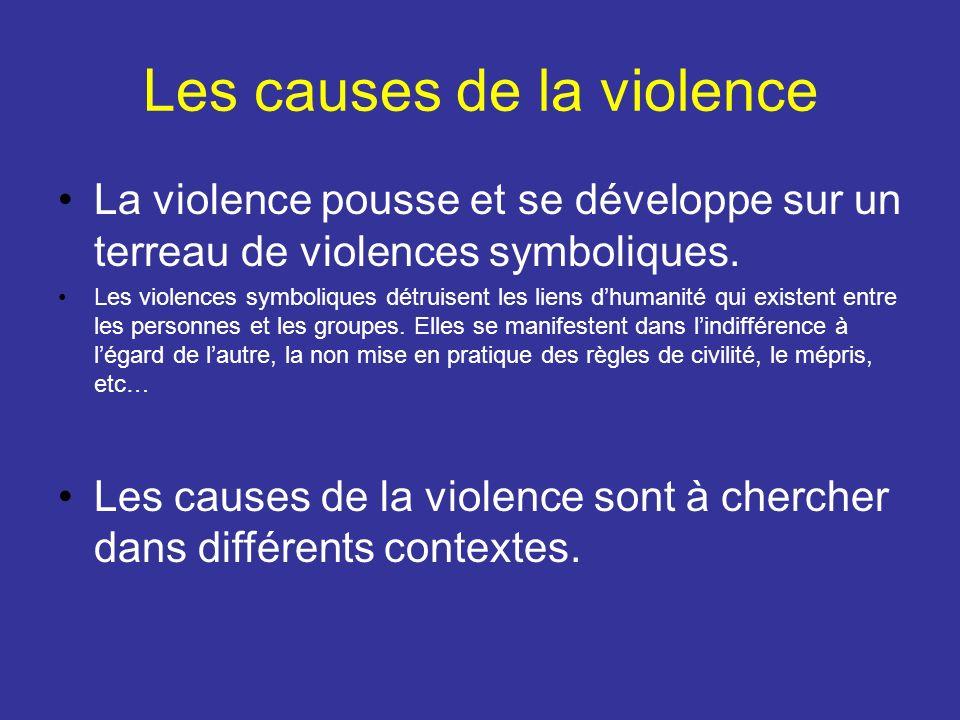 Les causes de la violence La violence pousse et se développe sur un terreau de violences symboliques. Les violences symboliques détruisent les liens d