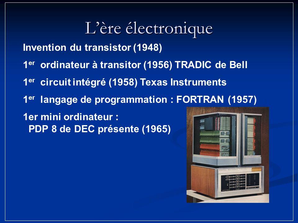 Lère électronique Invention du transistor (1948) 1 er circuit intégré (1958) Texas Instruments 1 er ordinateur à transitor (1956) TRADIC de Bell 1er m
