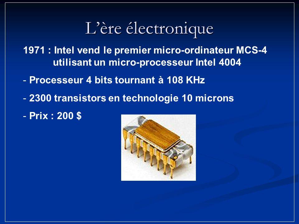 Lère électronique 1971 : Intel vend le premier micro-ordinateur MCS-4 utilisant un micro-processeur Intel 4004 - Processeur 4 bits tournant à 108 KHz