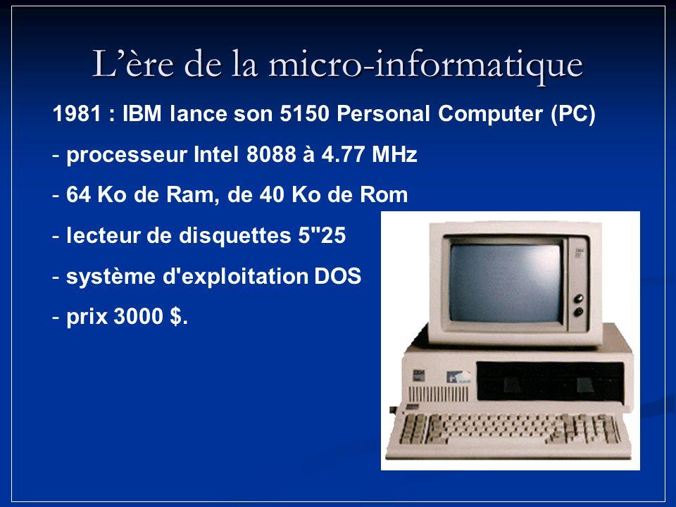 Lère de la micro-informatique 1981 : IBM lance son 5150 Personal Computer (PC) - processeur Intel 8088 à 4.77 MHz - 64 Ko de Ram, de 40 Ko de Rom - le