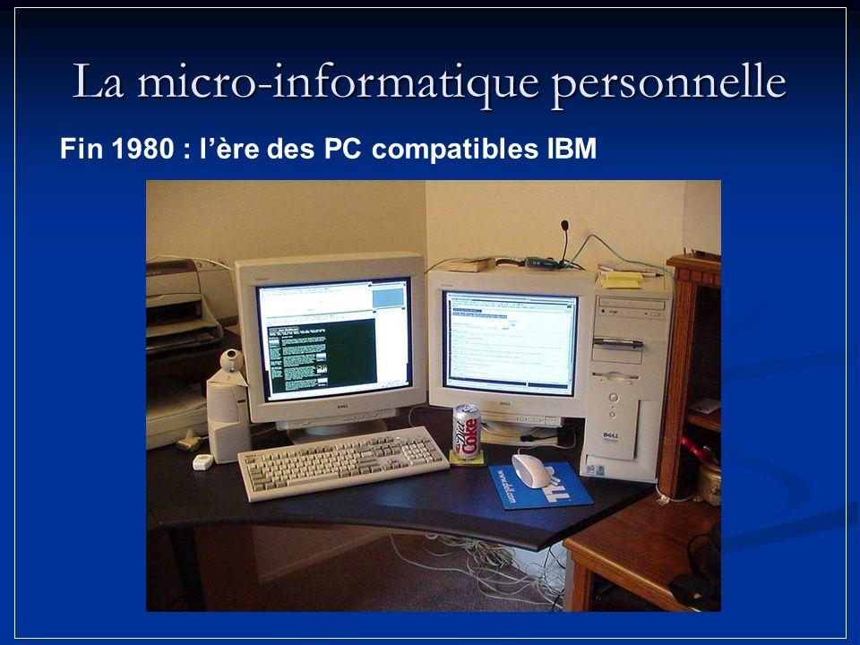 Fin 1980 : lère des PC compatibles IBM La micro-informatique personnelle