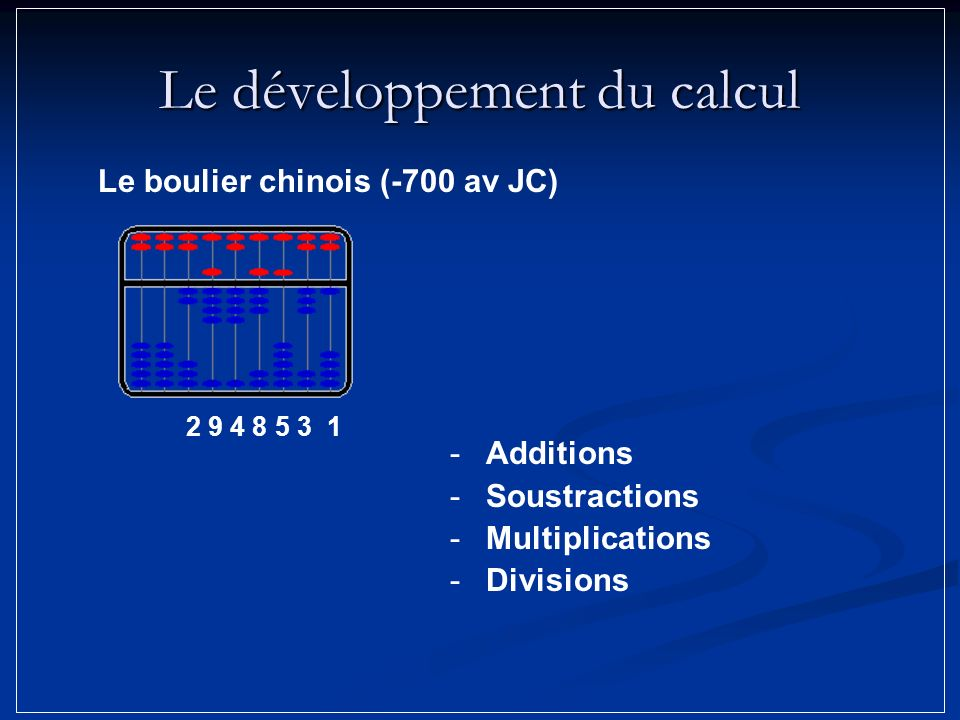 Le développement du calcul -Additions -Soustractions -Multiplications -Divisions 2 9 4 8 5 3 1 Le boulier chinois (-700 av JC)