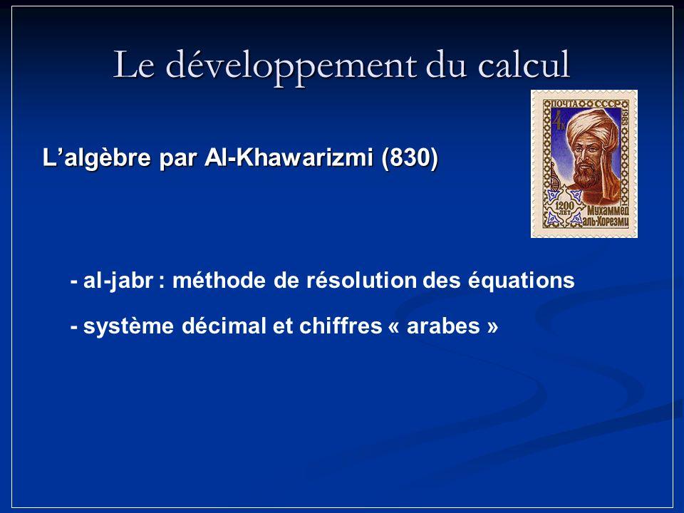 Le développement du calcul Lalgèbre par Al-Khawarizmi (830) - al-jabr : méthode de résolution des équations - système décimal et chiffres « arabes »