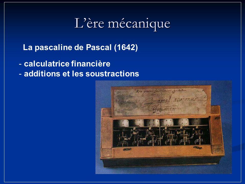 Lère mécanique La pascaline de Pascal (1642) - calculatrice financière - additions et les soustractions