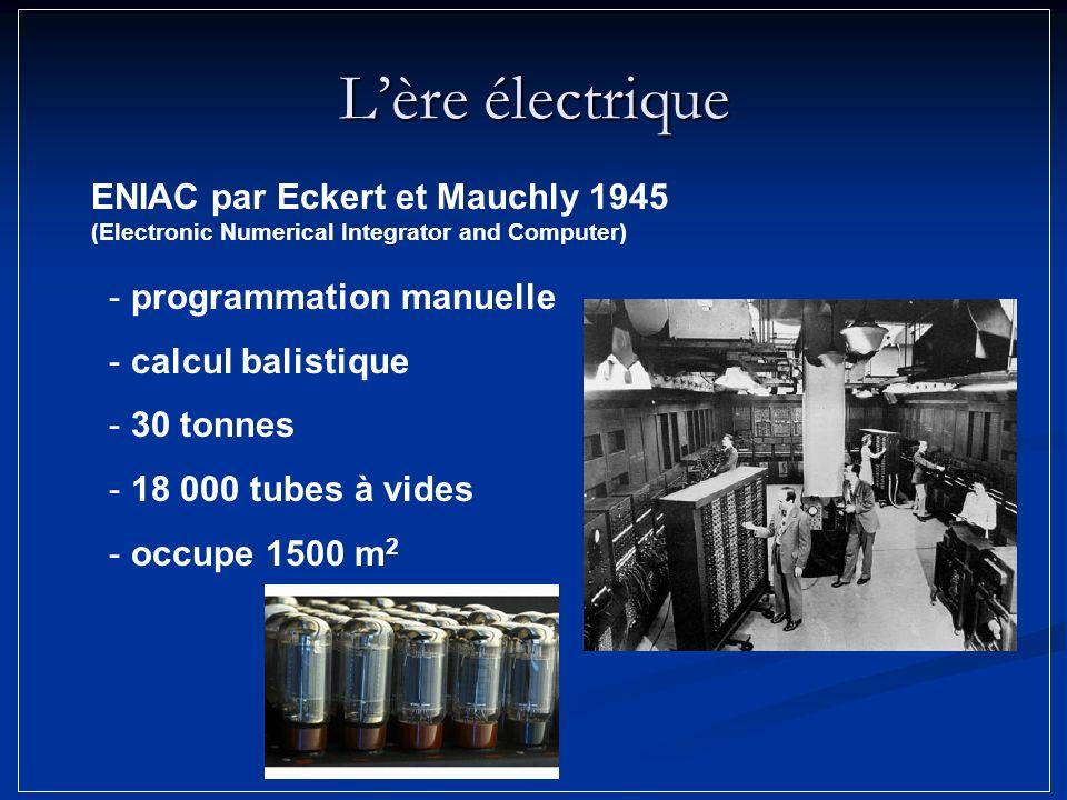 Lère électrique - programmation manuelle - calcul balistique - 30 tonnes - 18 000 tubes à vides - occupe 1500 m 2 ENIAC par Eckert et Mauchly 1945 (El