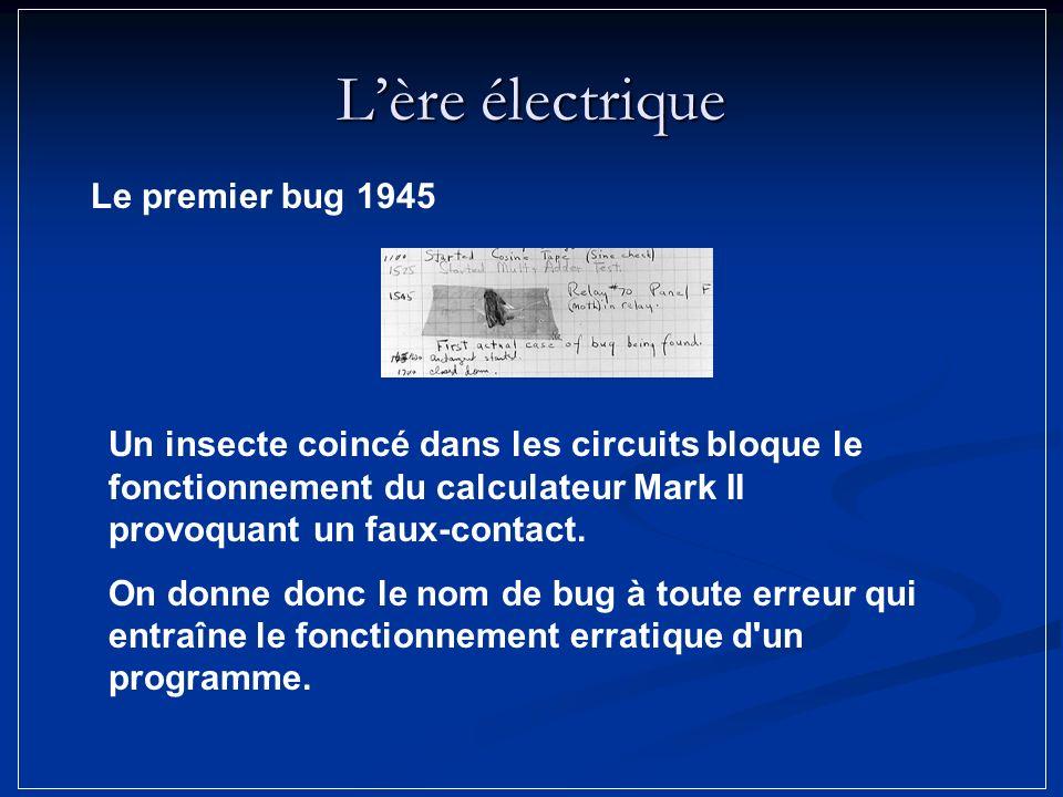 Lère électrique Un insecte coincé dans les circuits bloque le fonctionnement du calculateur Mark II provoquant un faux-contact. On donne donc le nom d