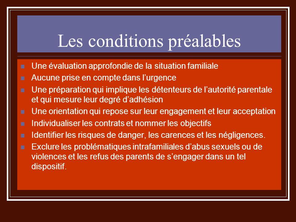 Les conditions préalables Une évaluation approfondie de la situation familiale Aucune prise en compte dans lurgence Une préparation qui implique les d