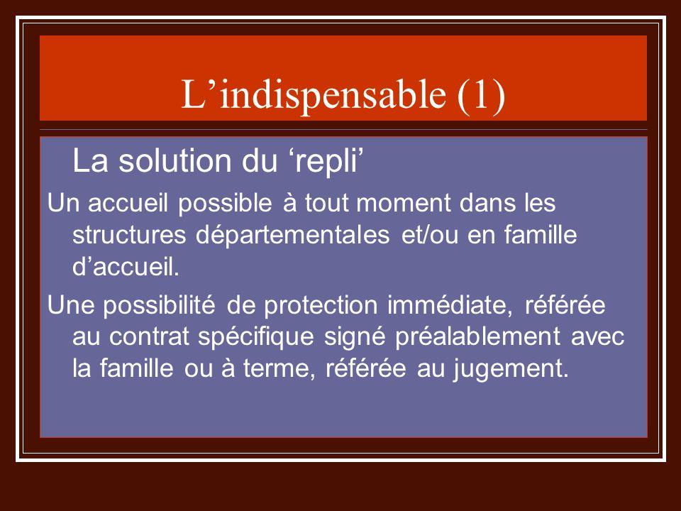 Lindispensable (1) La solution du repli Un accueil possible à tout moment dans les structures départementales et/ou en famille daccueil. Une possibili
