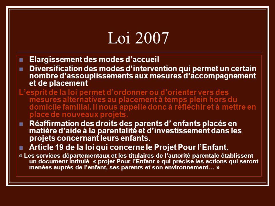 Loi 2007 Elargissement des modes daccueil Diversification des modes dintervention qui permet un certain nombre dassouplissements aux mesures daccompag