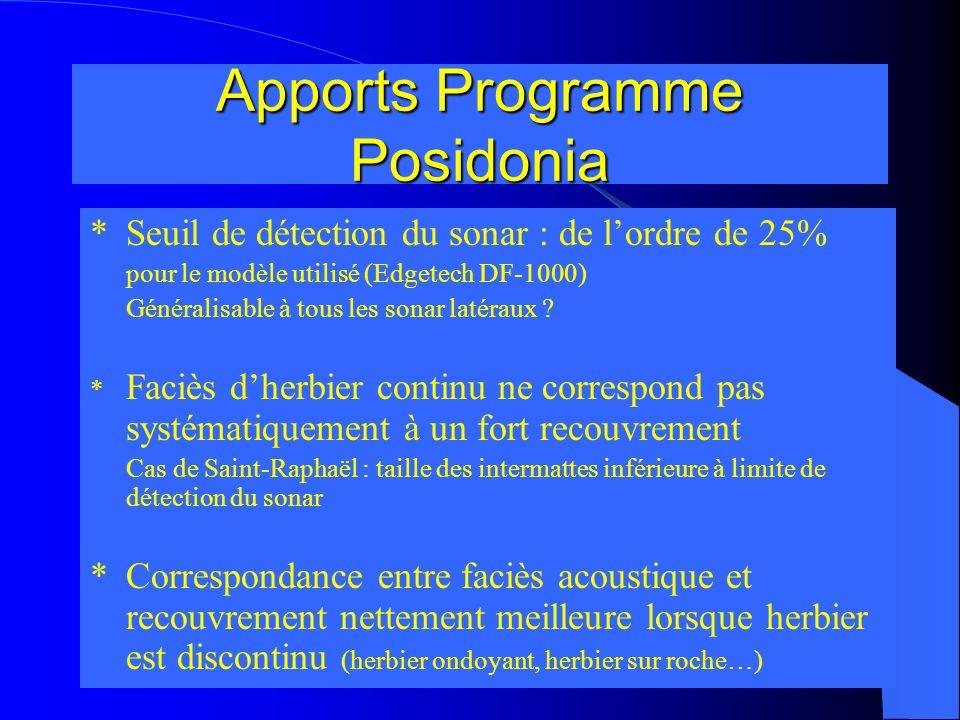 Apports Programme Posidonia *Seuil de détection du sonar : de lordre de 25% pour le modèle utilisé (Edgetech DF-1000) Généralisable à tous les sonar l