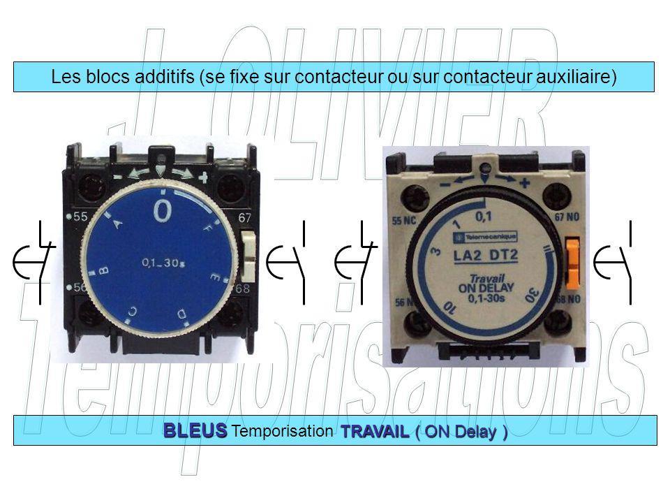 Les blocs additifs (se fixe sur contacteur ou sur contacteur auxiliaire) BLEUS TRAVAIL ( ON Delay ) BLEUS Temporisation TRAVAIL ( ON Delay )