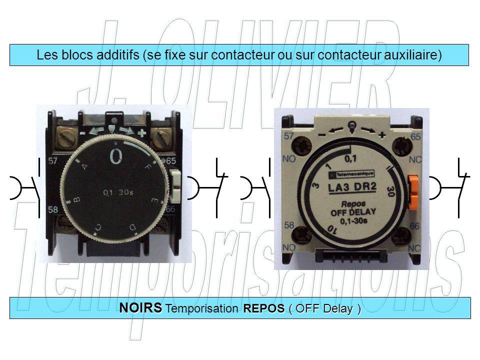 Les blocs additifs (se fixe sur contacteur ou sur contacteur auxiliaire) NOIRS REPOS ( OFF Delay ) NOIRS Temporisation REPOS ( OFF Delay )