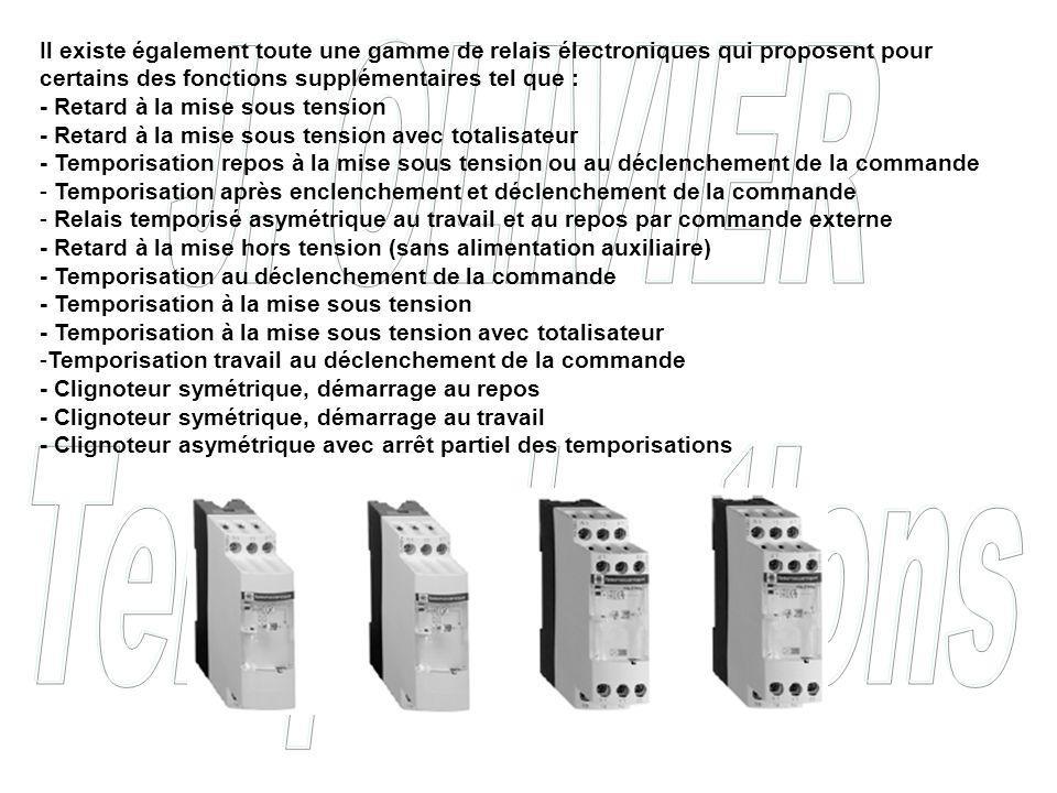 Il existe également toute une gamme de relais électroniques qui proposent pour certains des fonctions supplémentaires tel que : - Retard à la mise sous tension - Retard à la mise sous tension avec totalisateur - Temporisation repos à la mise sous tension ou au déclenchement de la commande - Temporisation après enclenchement et déclenchement de la commande - Relais temporisé asymétrique au travail et au repos par commande externe - Retard à la mise hors tension (sans alimentation auxiliaire) - Temporisation au déclenchement de la commande - Temporisation à la mise sous tension - Temporisation à la mise sous tension avec totalisateur -Temporisation travail au déclenchement de la commande - Clignoteur symétrique, démarrage au repos - Clignoteur symétrique, démarrage au travail - Clignoteur asymétrique avec arrêt partiel des temporisations