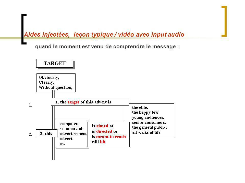 Aides injectées, leçon typique / vidéo avec input audio quand le moment est venu de comprendre le message :