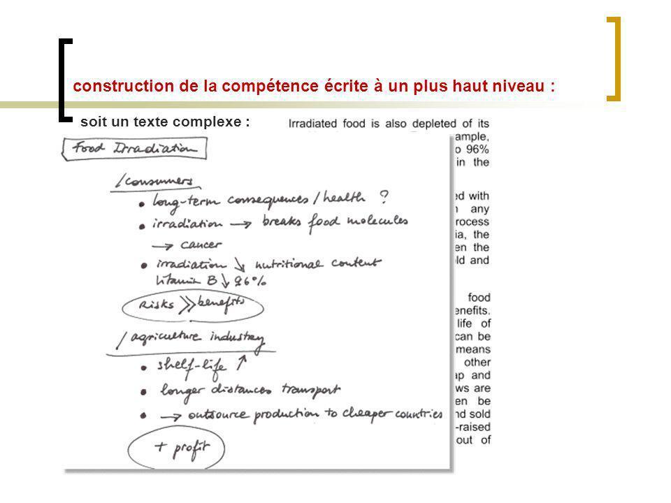 construction de la compétence écrite à un plus haut niveau : soit un texte complexe :