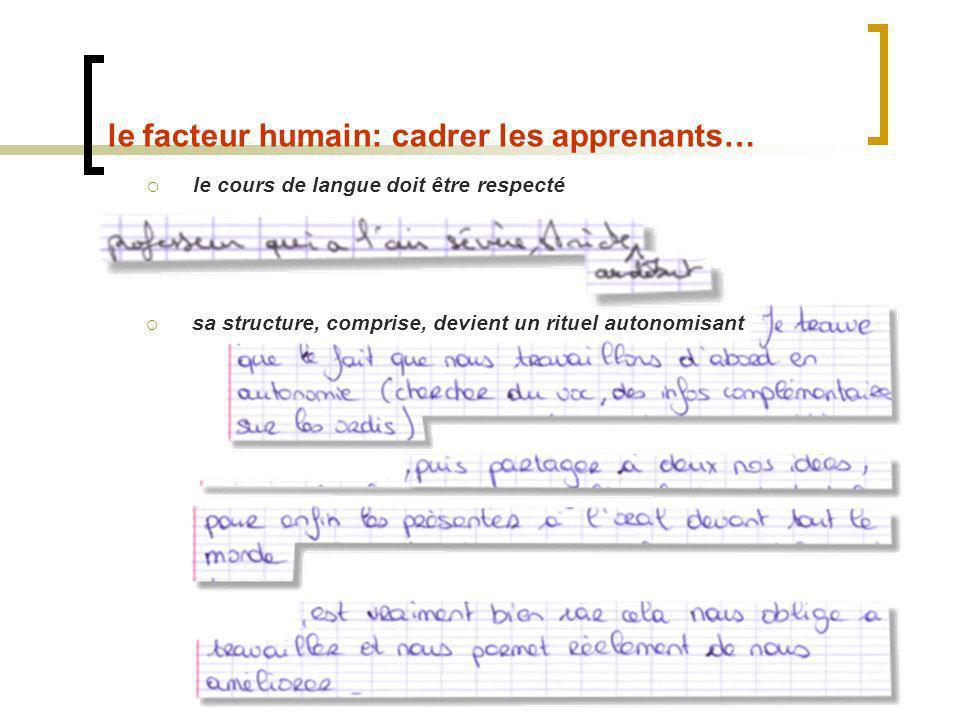 le facteur humain: cadrer les apprenants… le cours de langue doit être respecté sa structure, comprise, devient un rituel autonomisant