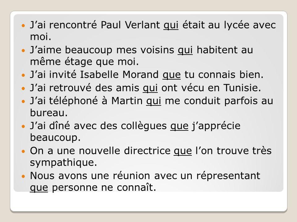 Jai rencontré Paul Verlant qui était au lycée avec moi. Jaime beaucoup mes voisins qui habitent au même étage que moi. Jai invité Isabelle Morand que