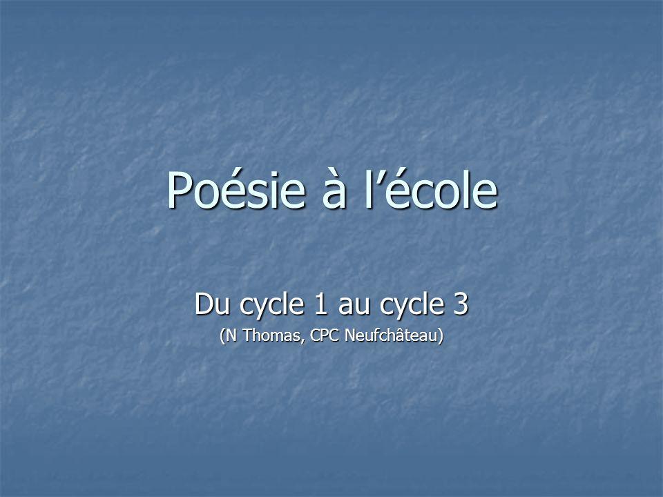 Poésie à lécole Du cycle 1 au cycle 3 (N Thomas, CPC Neufchâteau)