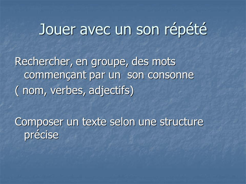 Jouer avec un son répété Rechercher, en groupe, des mots commençant par un son consonne ( nom, verbes, adjectifs) Composer un texte selon une structur