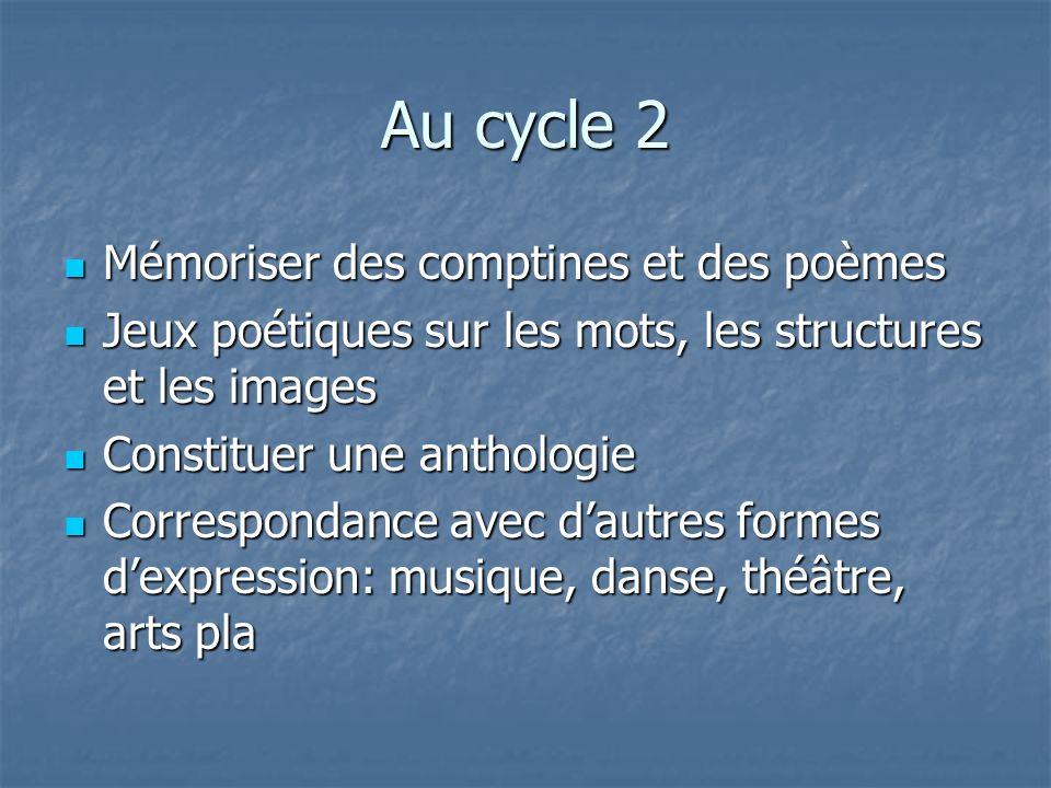Au cycle 2 Mémoriser des comptines et des poèmes Mémoriser des comptines et des poèmes Jeux poétiques sur les mots, les structures et les images Jeux