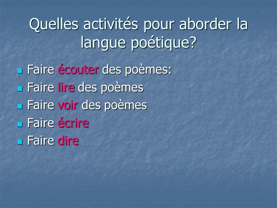 Quelles activités pour aborder la langue poétique? Faire écouter des poèmes: Faire écouter des poèmes: Faire lire des poèmes Faire lire des poèmes Fai