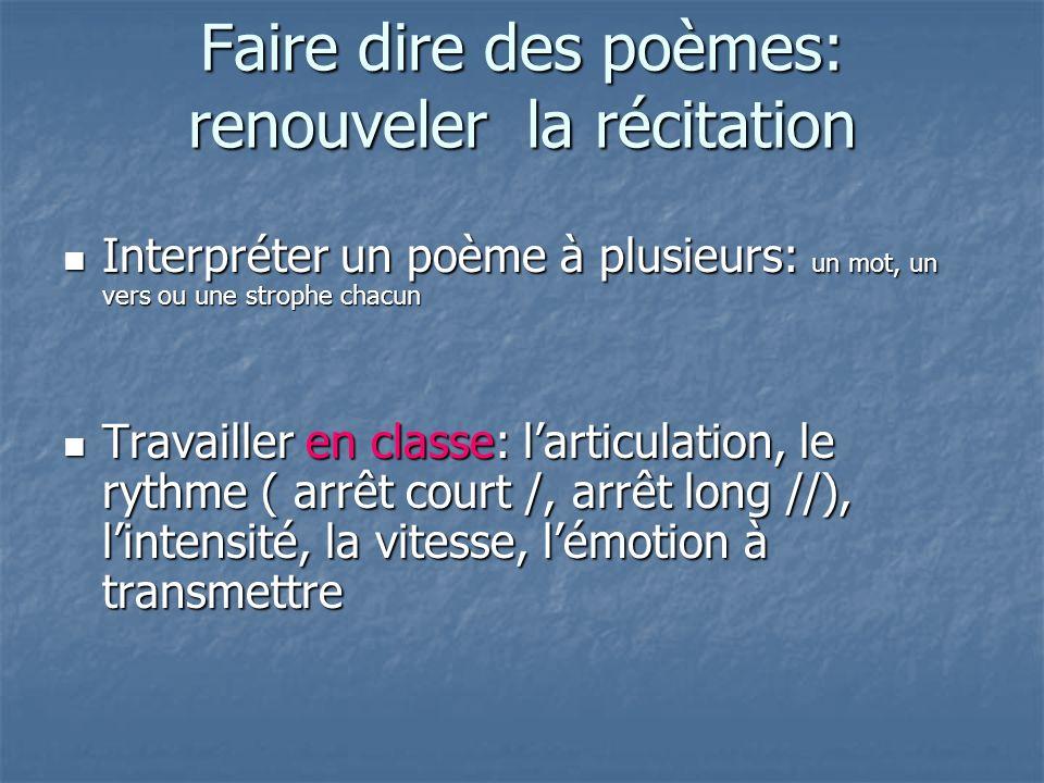 Faire dire des poèmes: renouveler la récitation Interpréter un poème à plusieurs: un mot, un vers ou une strophe chacun Interpréter un poème à plusieu