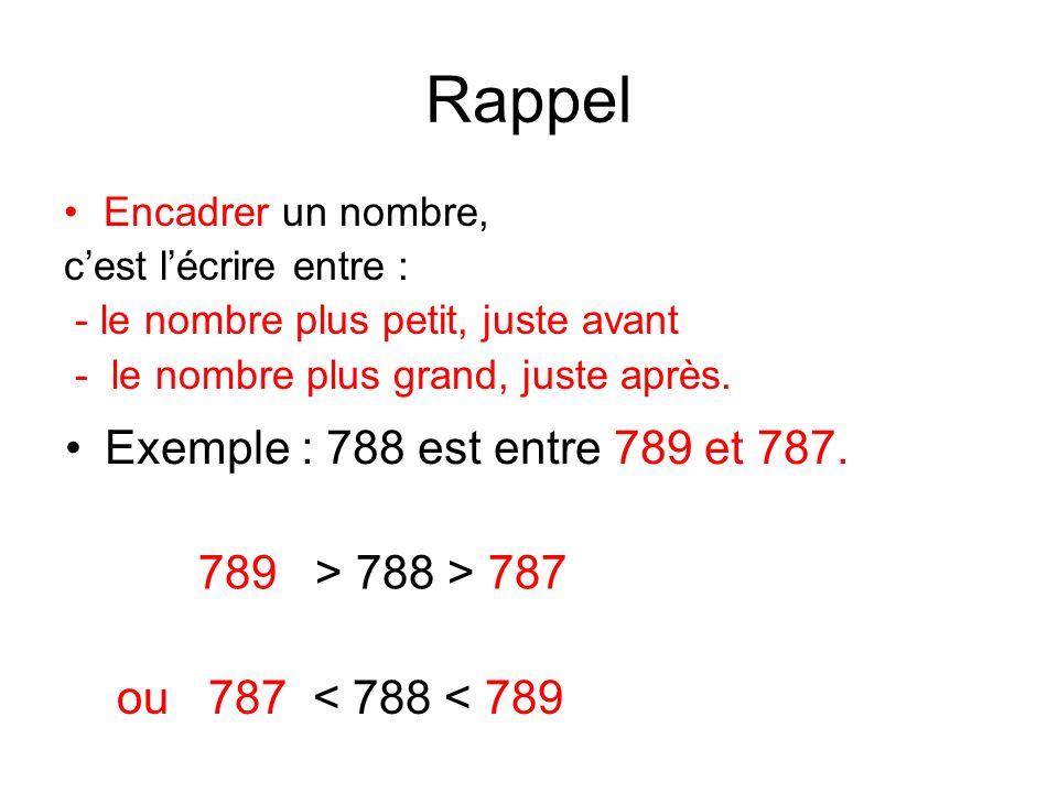 Rappel Encadrer un nombre, cest lécrire entre : - le nombre plus petit, juste avant - le nombre plus grand, juste après. 789 > 788 > 787 Exemple : 788