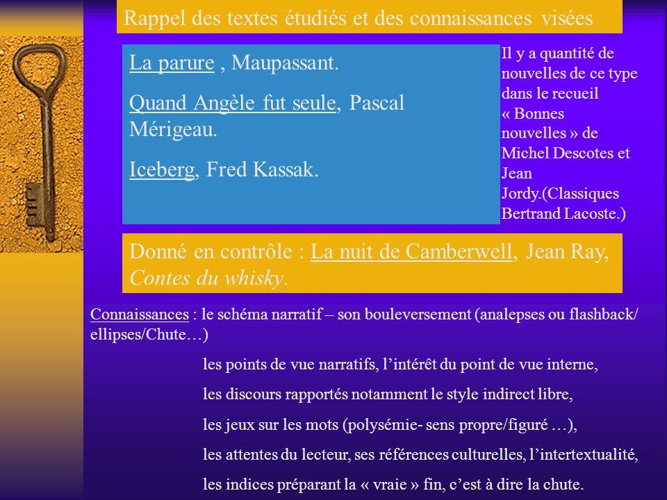 Rappel des textes étudiés et des connaissances visées La parure, Maupassant.