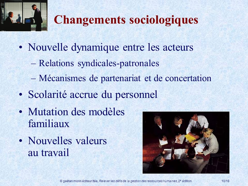 © gaëtan morin éditeur ltée, Relever les défis de la gestion des ressources humaines, 2 e édition.10/18 Nouvelle dynamique entre les acteurs –Relation