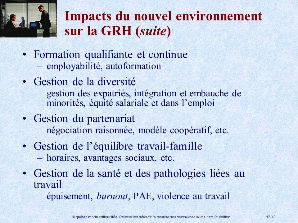 © gaëtan morin éditeur ltée, Relever les défis de la gestion des ressources humaines, 2 e édition.17/18 Impacts du nouvel environnement sur la GRH (su