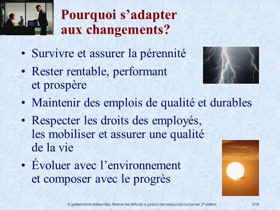 © gaëtan morin éditeur ltée, Relever les défis de la gestion des ressources humaines, 2 e édition.3/18 Pourquoi sadapter aux changements? Survivre et
