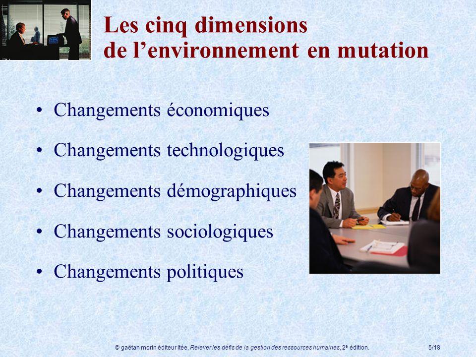 © gaëtan morin éditeur ltée, Relever les défis de la gestion des ressources humaines, 2 e édition.5/18 Les cinq dimensions de lenvironnement en mutati
