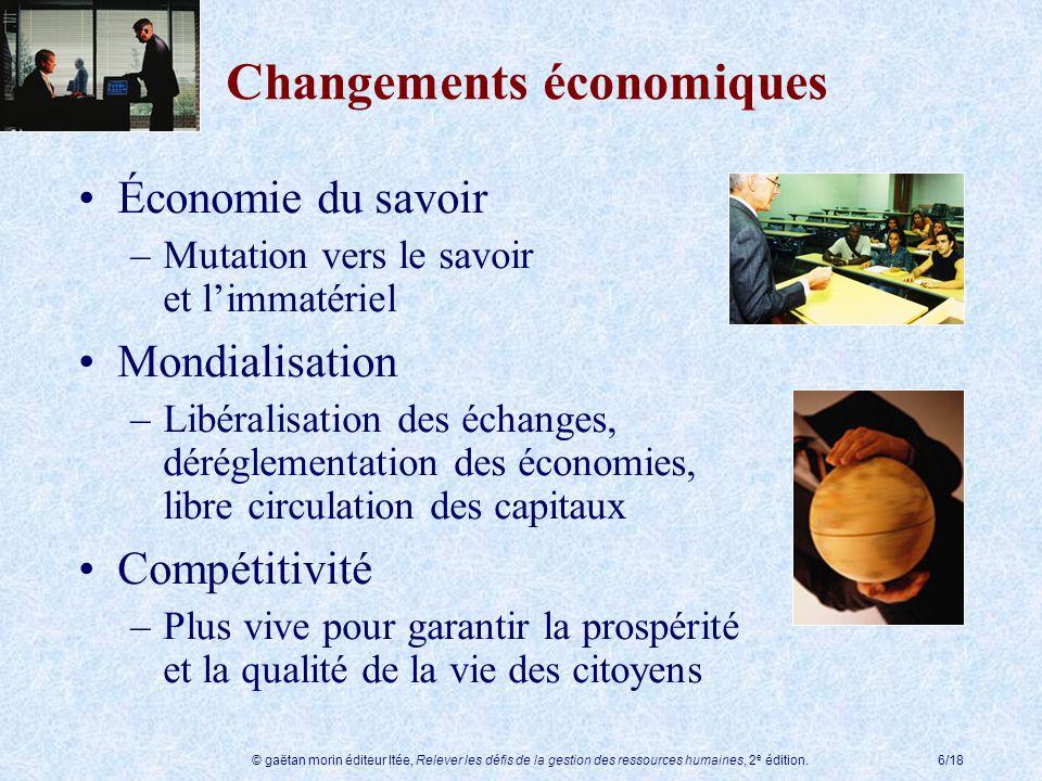 © gaëtan morin éditeur ltée, Relever les défis de la gestion des ressources humaines, 2 e édition.6/18 Économie du savoir –Mutation vers le savoir et