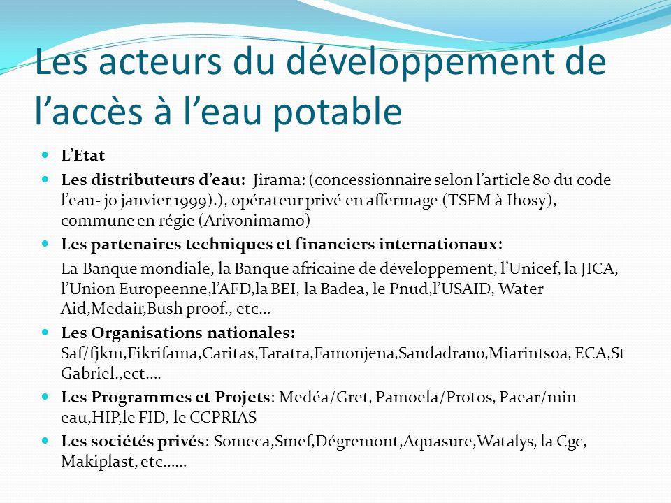 Les acteurs du développement de laccès à leau potable LEtat Les distributeurs deau: Jirama: (concessionnaire selon larticle 80 du code leau- jo janvie